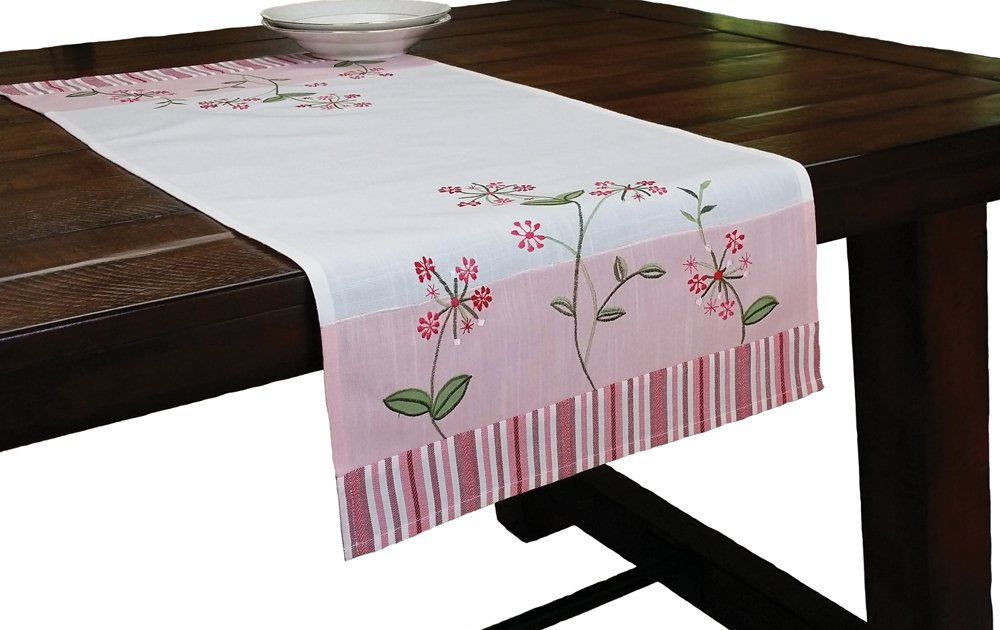 Xia Home Fashions Whimsy Embroidered Floral Table Runner, 16-Inch by 36-Inch