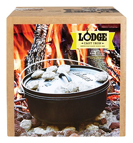 Lodge Logic Camp Oven 6 Qt. Cast Iron Pre-Seasoned, Round 12