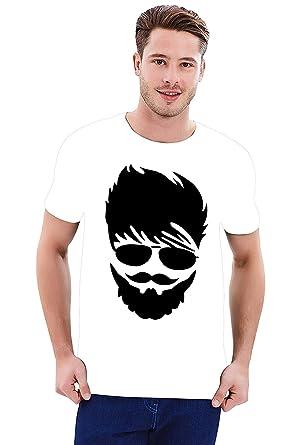95ea2e588 Step Shoes Men's White Blue Cotton Round Neck Beard Print t Shirts for Men