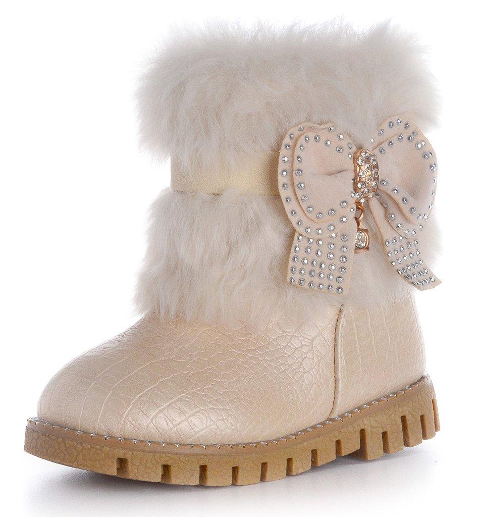 DADAWEN Baby's Girl's Waterproof Rhinestone Bowknot Side Zipper Cute Winter Snow Boots Beige US Size 6 M Toddler