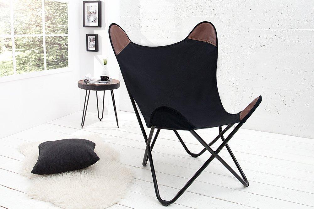 Sessel BUTTERFLY Canvas Schwarz Designklassiker Mit Eisengestell Lounge Esszimmer  Klappstuhl Loungesessel Liegestuhl: Amazon.de: Küche U0026 Haushalt