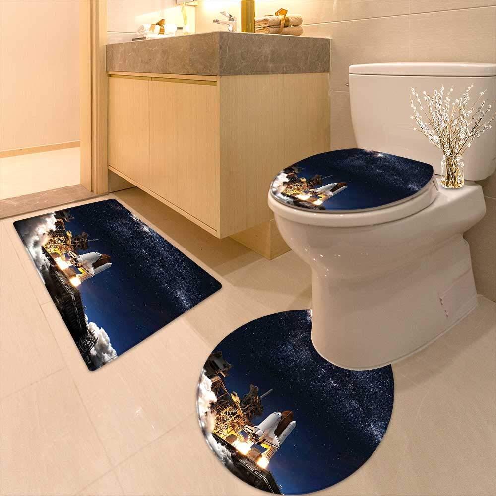 Printsonne 3 Piece Toilet mat Set Shuttle on Take Off Discovery Mission to Explore Galaxy Spaceship Solar Adventure Blue 3 Piece Shower Mat Set