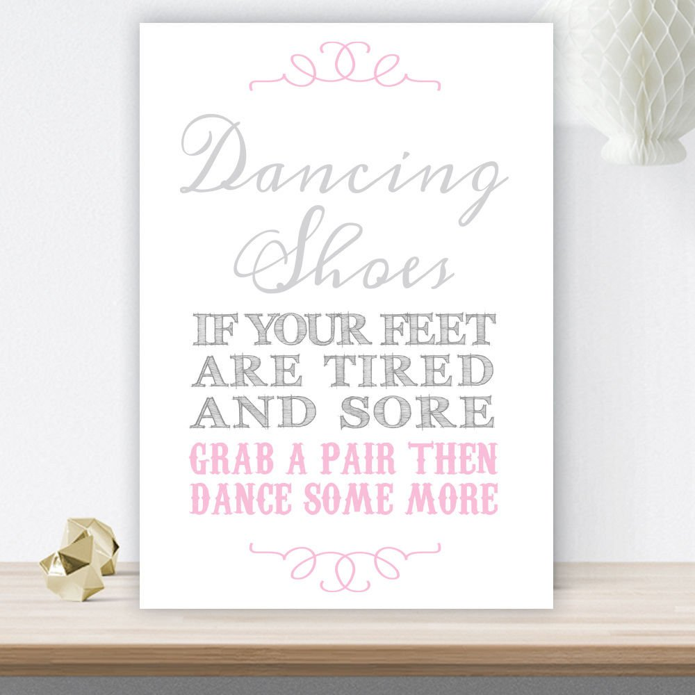 5ef4507fd Grey and Pink Dancing Shoes Wedding Flip Flop Basket Sign (GP9) (White  Pearlised Card