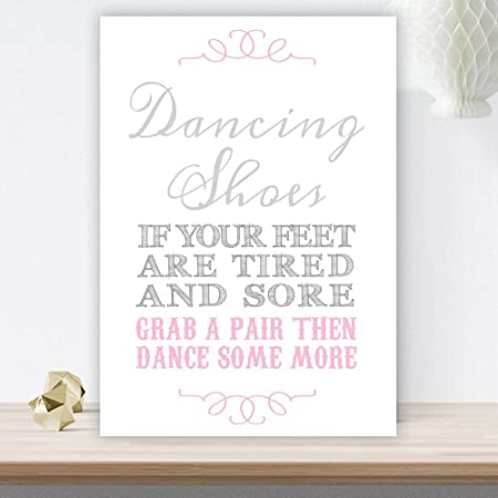 04f1d97b6a926 Grey and Pink Dancing Shoes Wedding Flip Flop Basket Sign (GP9) (White  Pearlised Card