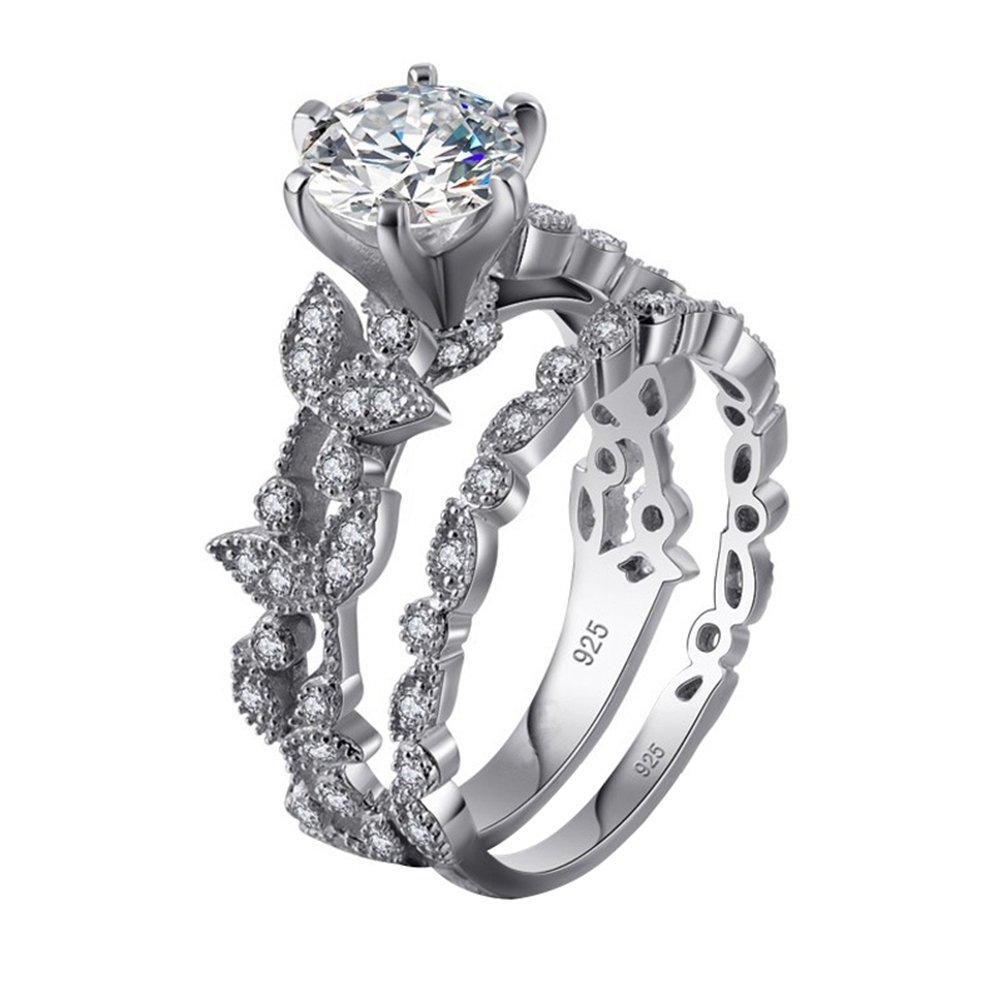 Momangel 2 in 1 Leaf Design Cubic Zirconia Finger Rings Set Luxury Women's Wedding Jewelry Gift
