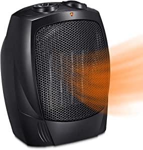 Joy Pebble Portable Ceramic Space Heater for Home and Office Indoor Use with Adjustable Thermostat Overheat Protection and Carrying Handle ETL Listed, 750W/1500W (Black)