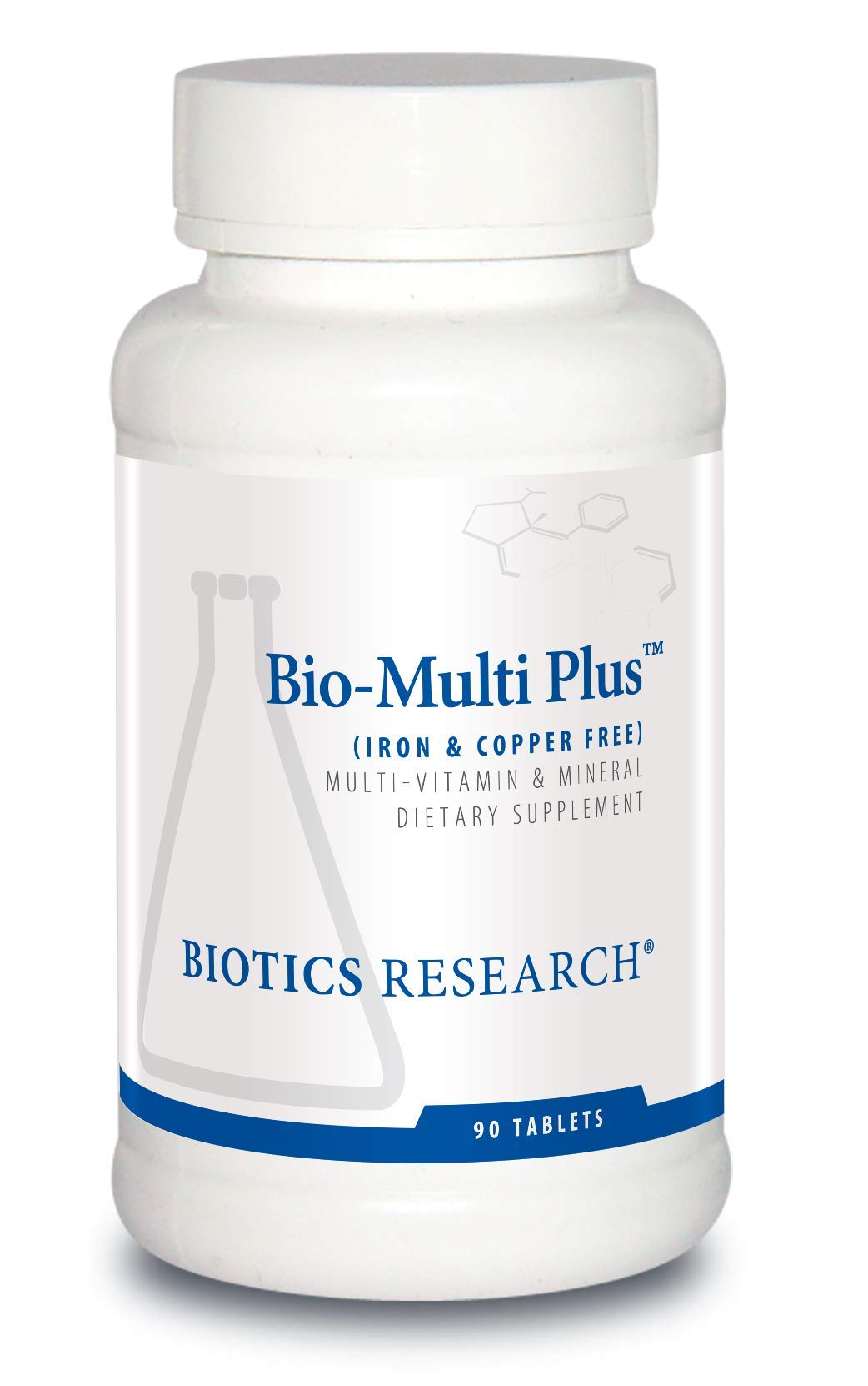 Biotics Research Bio-Multi Plus TM (Iron & Copper Free) - Multivitamin, Chelated Minerals, Emulsified Fat-Soluble Vitamins, Iron Free, Copper Free, High antioxidants, SOD, Catalase 90ct