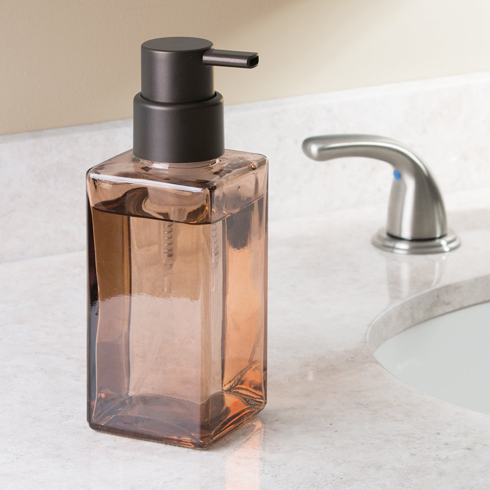 InterDesign Casilla Glass Foaming Soap Dispenser Pump for Kitchen, Bathroom Countertop and Vanities - Clear/Bronze 70560