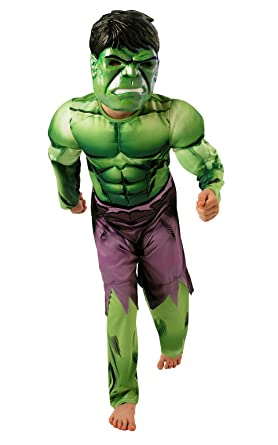 Rubieu0027s Official Deluxe Incredible Hulk Boys Fancy Dress Kids Marvel Superhero Childrens Costume Medium Ages 5  sc 1 st  Amazon UK & Rubie´s Hulk Deluxe Costume - Childrens Fancy Dress Costume: Amazon ...
