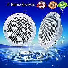 Car Boat Waterproof Marine Speakers 2-Way Full Range Audio Stereo Sound Motorcycle UTV ATV Fishing Golf Cart Yacht SPA Skid Steer Tractor Powersports 160 Watts 4'' inches Dual Cone White Pair