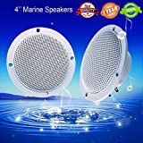 outside rv speakers - Car Boat Waterproof Marine Speakers 2-Way Full Range Audio Stereo Sound Motorcycle UTV ATV Fishing Golf Cart Yacht SPA Skid Steer Tractor Powersports 160 Watts 4'' inches Dual Cone White Pair