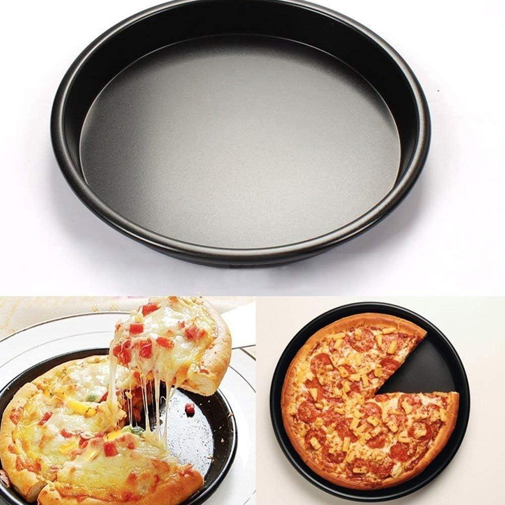 Antiadherente bandeja de Pizza de horno redonda Pizza Deep Dish pizza Pan para horno de aleación de aluminio anodizado, negro, 10