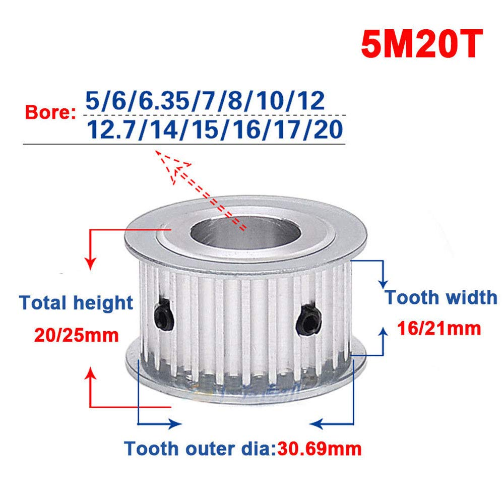 Bore:5mm, Tooth Width:16mm 5M 20T Timing Belt Pulley Synchronous Wheel 5mm Pitch 5mm Bore for 15mm Width Belt