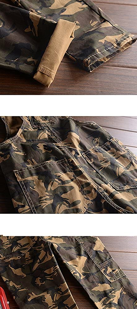LifeHe Men Camo Slim Fit Denim Overalls Jogger Cargo Pants