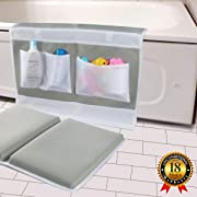 Bath Kneeler - Bath Knee Mat and Elbow Rest with Toy Organizer - Large Safety Kneeling Pad for Baby Bath Time, Garden Work, Exercise - Detachable and Foldable Child Bath Tub Padding for Parents - Gray