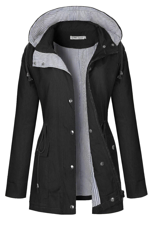 Black BBX Lephsnt Rain Coats for Women Lightweight Rain Jacket Active Outdoor Trench Coat