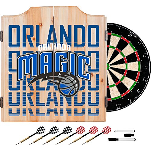 Trademark Gameroom NBA7010-OM3 NBA Dart Cabinet Set with Darts & Board - City - Orlando Magic by Trademark Global