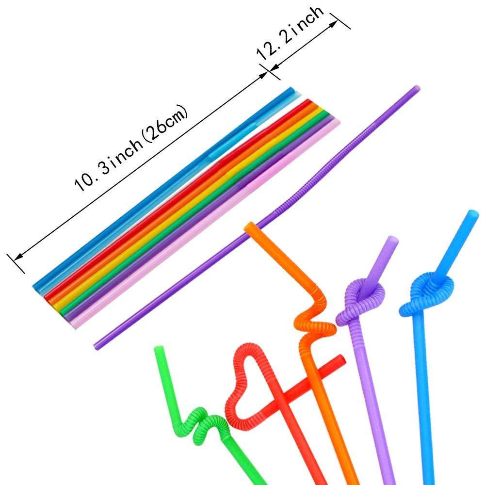 26cm Mariage No/ël F/êtes MLIAN 100pcs Pailles en Plastique Color/ées Paille jetable pour lanniversaire