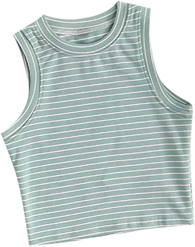 Women Striped Sleeveless Backless Pullover Suspended Slim Fit Casaul Vest Summer