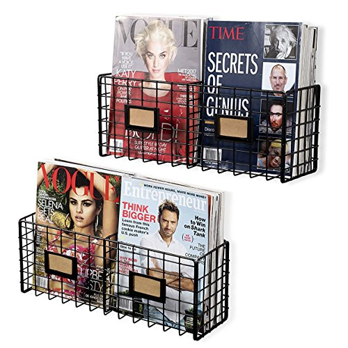 WALL35 Magazine Organizer Holder Wire Racks Wall Mountable Space Saving Design Set of 2 Black