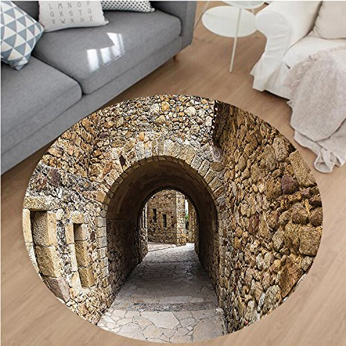 Nalahome Modern Flannel Microfiber Non-Slip Machine Washable Round Area Rug-val Ancient Historic Street With Stone Walls in Pals Girona Catalonia Spain Picture Beige area rugs Home Decor-Round 71'' by Nalahome