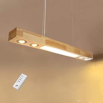 ZMH LED luz colgante madera rústica mesa de comedor lámpara colgante comedor lámpara colgante lámpara colgante con puntos incorporados para cocina sala de estar oficina 3500K Luz blanca cálida: Amazon.es: Iluminación