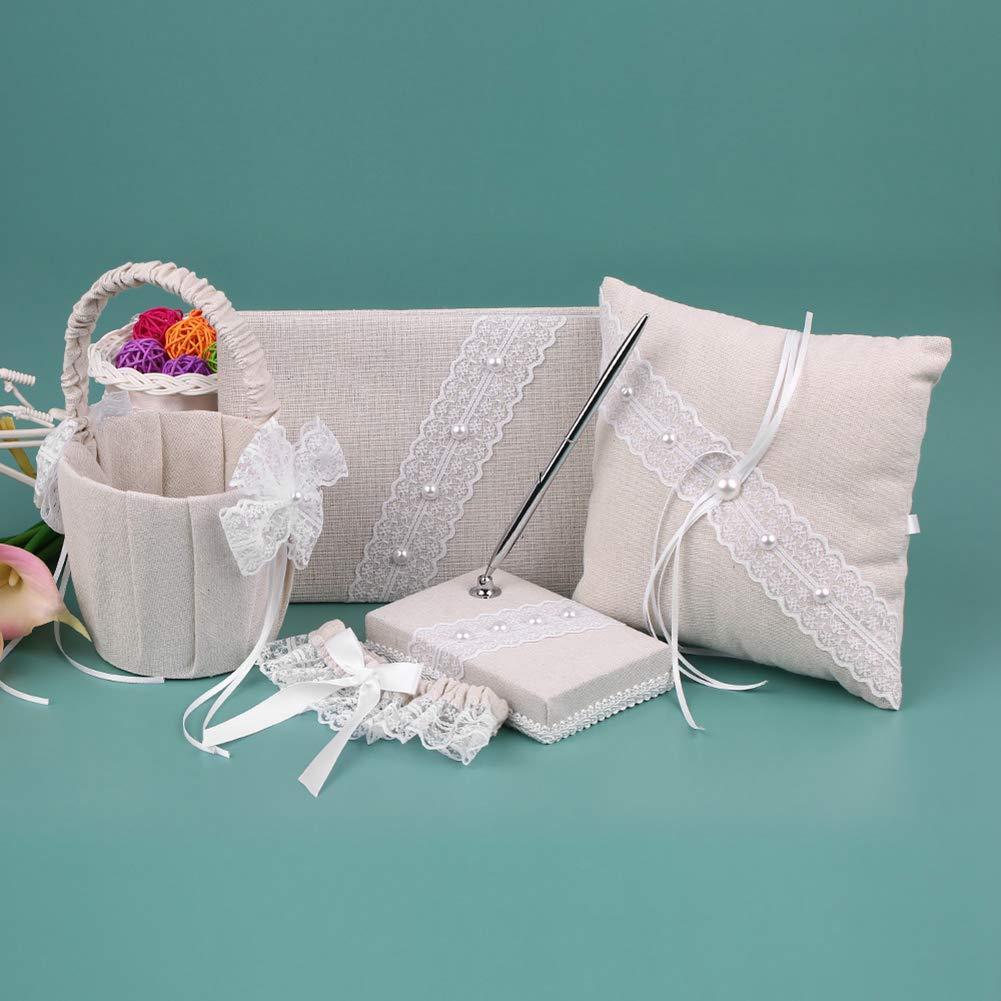 BERTERI 5pcs/Set Vintage Burlap Flower Girl Basket Ring Bearer Pillow Guest Book Pen Holder Bride Garter Wedding Supplies Set with Lace Faux Pearls Design