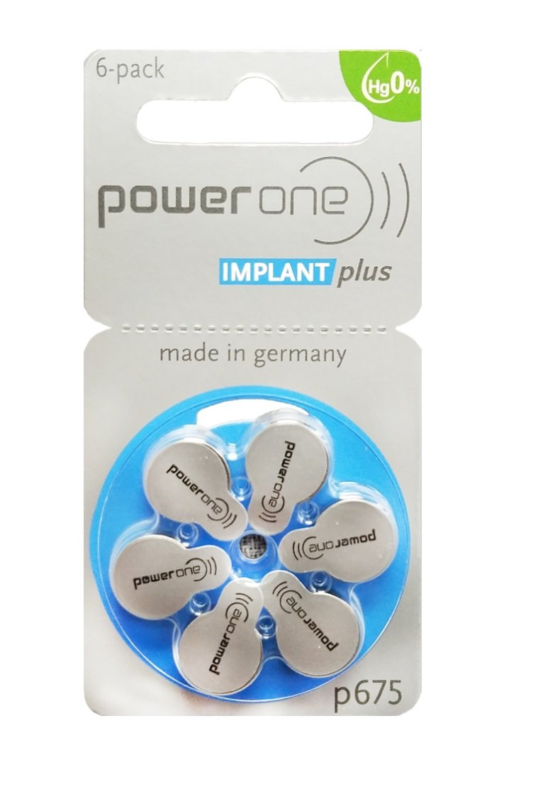 Power One Size 675 MERCURY FREE Cochlear Implant Batteries (60 batteries)