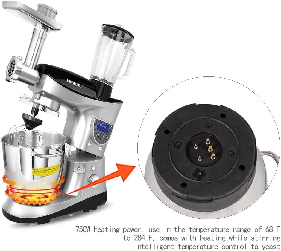 CHEFTRONIC Robot de Cocina Multifunción Batidora Amasadora SM-1086 220-240V / 800W 5.3qt Bowl Multifunción cocina mezclador eléctrico (SM1088-Silver): Amazon.es: Hogar