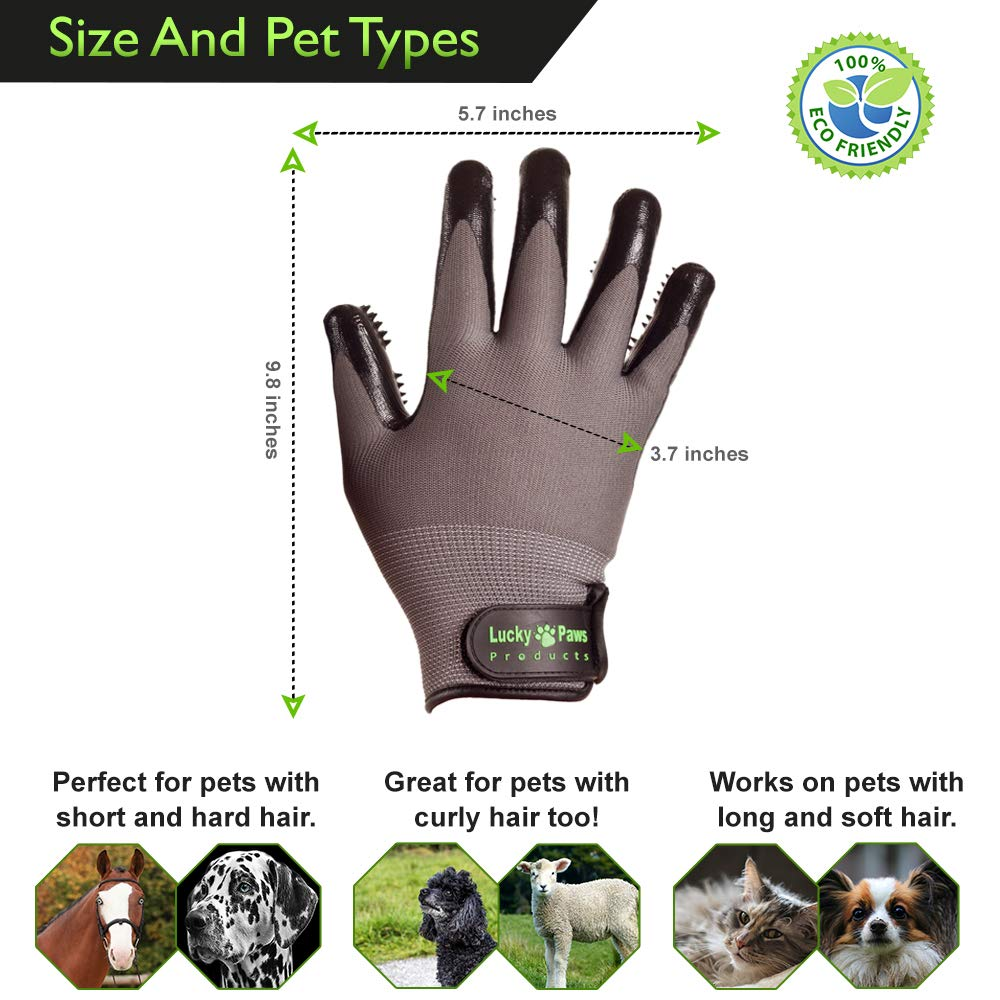 Lucky Paws Products Premium Pet Grooming Gloves – Gentle Deshedding Brush Glove - Use As A Pet Hair Remover for Shedding, Bathing & Grooming - Perfect for Cats, Dogs, Horses Or Other Pets. by Lucky Paws Products (Image #5)