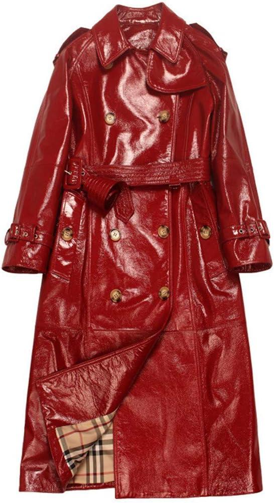 GWDYE Chaqueta de Gabardina de Cuero para Mujer, Cuero Original Rojo Brillante, 100% Cuero, Hecho a Mano, (M-XL)