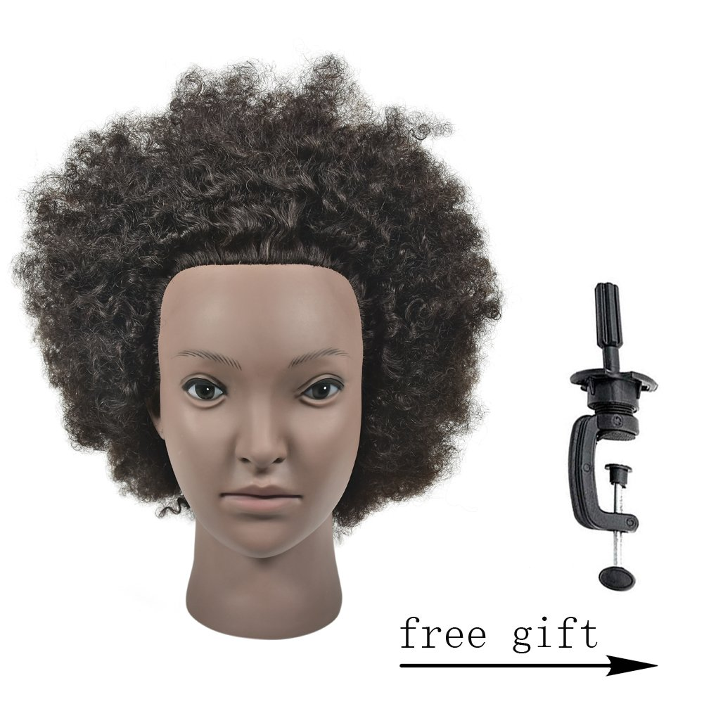 Wansi 100% Human Hair Male Mannequin Head Training Head with Natural black, Cosmetology Hairdressing Training Manikin Doll for Barber and A Free Clamp