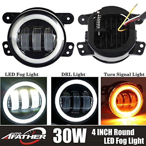 06 Tj 4' Kit (Pair 30W LED Work Fog Light 4 Inch 6000K White Round Driving Offroad Lamp Halo Ring Angel Eye for Jeep Wrangler JK TJ LJ CJ Dodge Chrysler Cherokee - 2 Year Warranty)