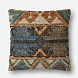 Loloi P0555 Jute, Wool and Cotton Pillow Cover with Down Fill