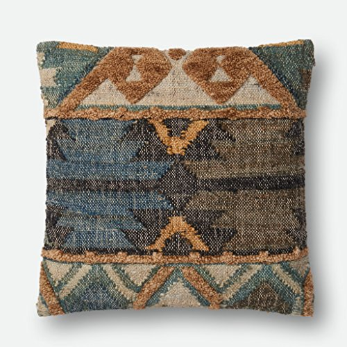 Loloi P0555 Jute, Wool & Cotton Pillow Cover w/Down Fill