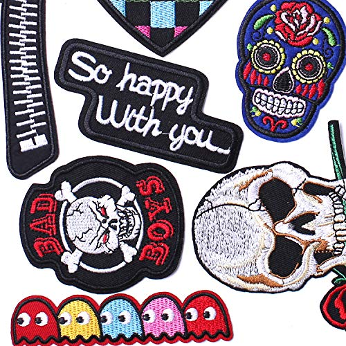 AXEN Assorted Styles Cool Embroidered Iron Patch on Cute Sewing Applique Applique for Jacket Hat Backpack Jeans Sewing Flowers Applique DIY Accessory (18PCS)