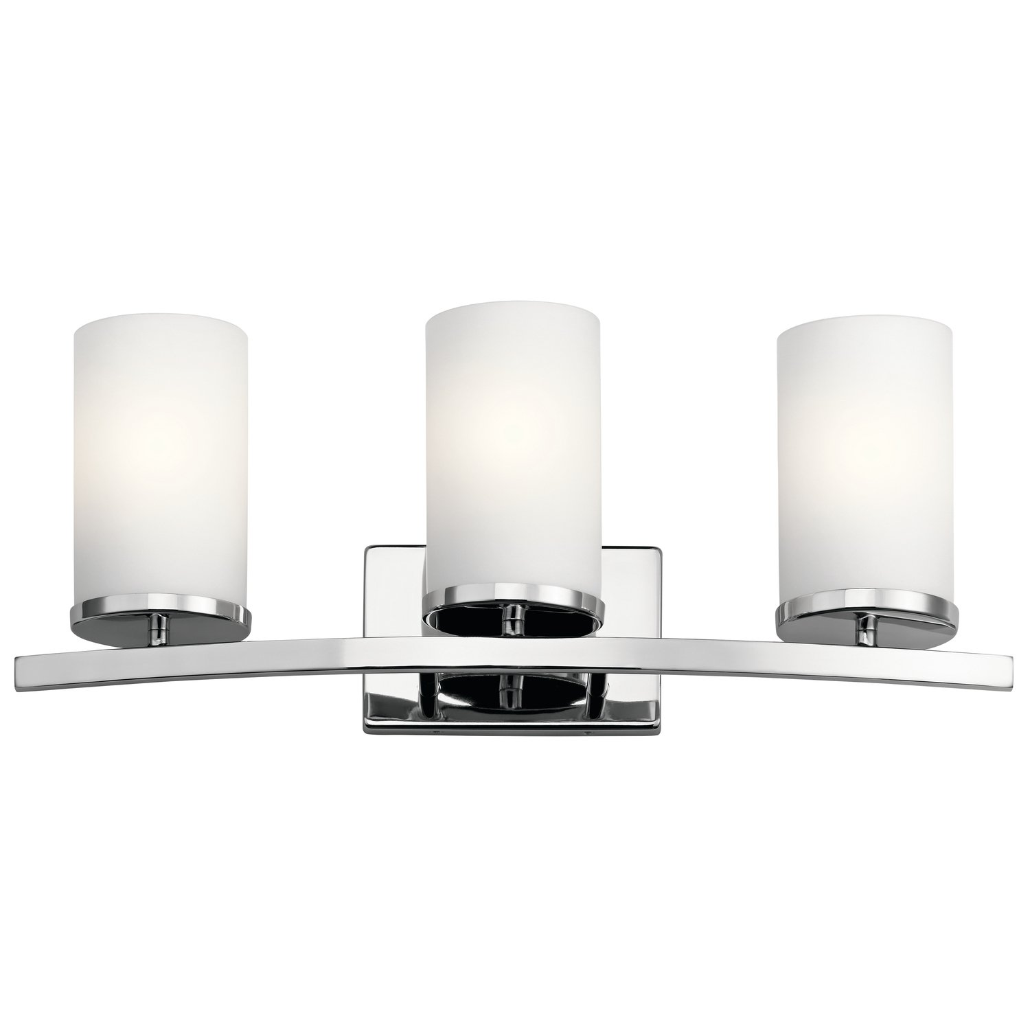 Kichler Lighting 45497CH Crosby - Three Light Bath Vanity, Chrome Finish with Satin Etched Cased Opal Glass 80%OFF