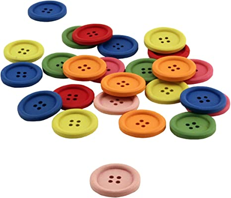 10 White Colorful MIX x 18 mm Wooden Buttons Buttons