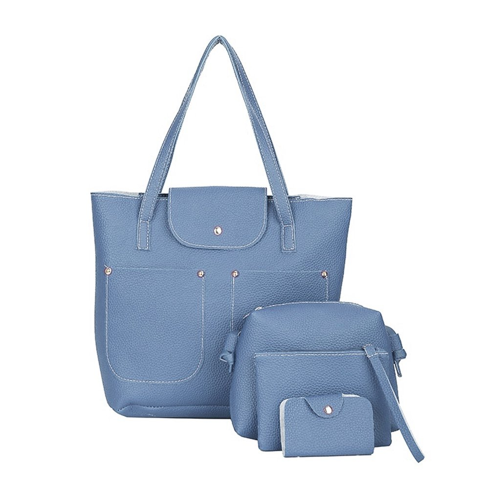 4pcs Ladies Leather Handbag Shoulder Tote Satchel Messenger Bag (Blue)