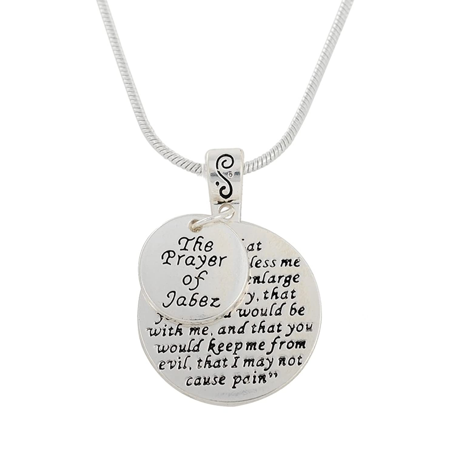 The Prayer of Jabez Two Coins Budda Words Engraved Pendant Necklace Jewelry for Men and Women