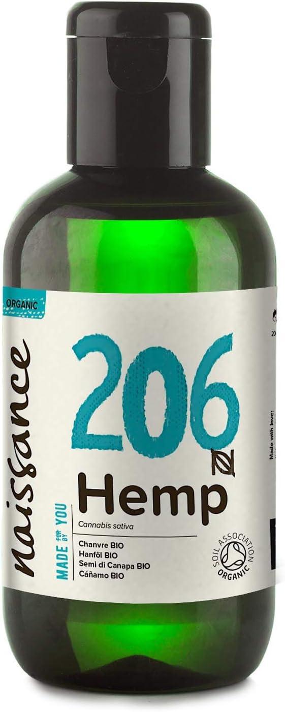 Naissance Aceite Vegetal de Semillas de Cáñamo BIO n. º 206-100ml - 100% puro, prensado en frío, virgen, certificado ecológico, vegano y no OGM