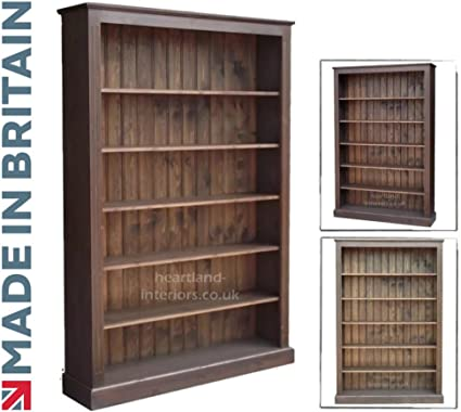 Madera de pino maciza estantería en color roble oscuro 6 ft x 4 ft hecha a mano y encerado pantalla ajustable almacenamiento estantería. Elección de ...
