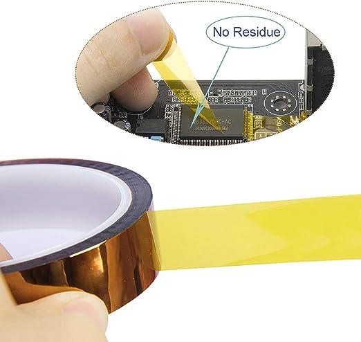 3mm // 6mm // 8mm //12mm // 25 mm x 33 m Soldadura por ola YIXISI 5 Piezas Cinta de Alta Temperatura Cinta Adhesiva Kapton para Soldar por Transferencia de calor y aislamiento