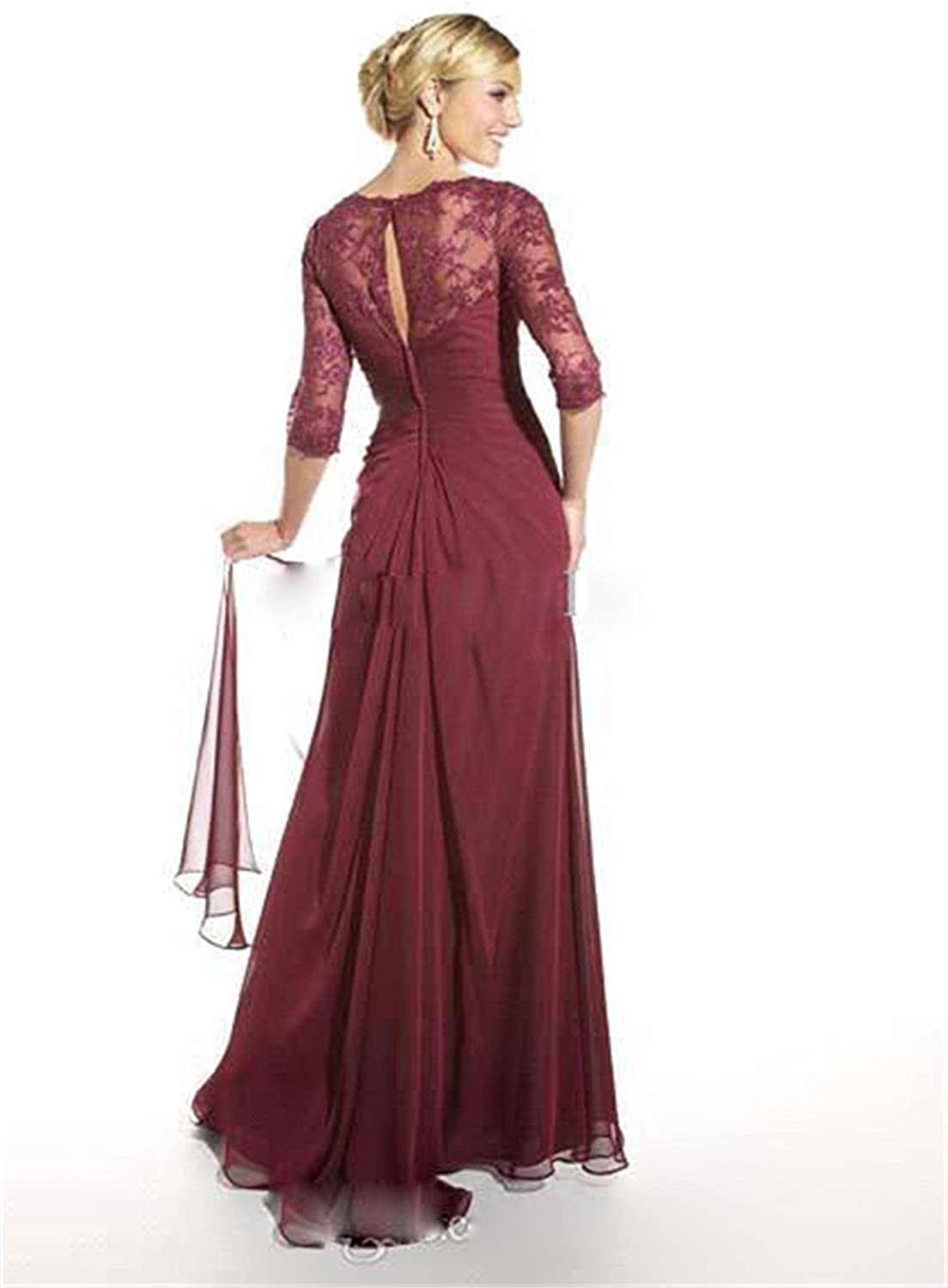 Newdeve Chiffon Brownish Red Lace Maxi Formal Dresses with 3//4 Sleeves