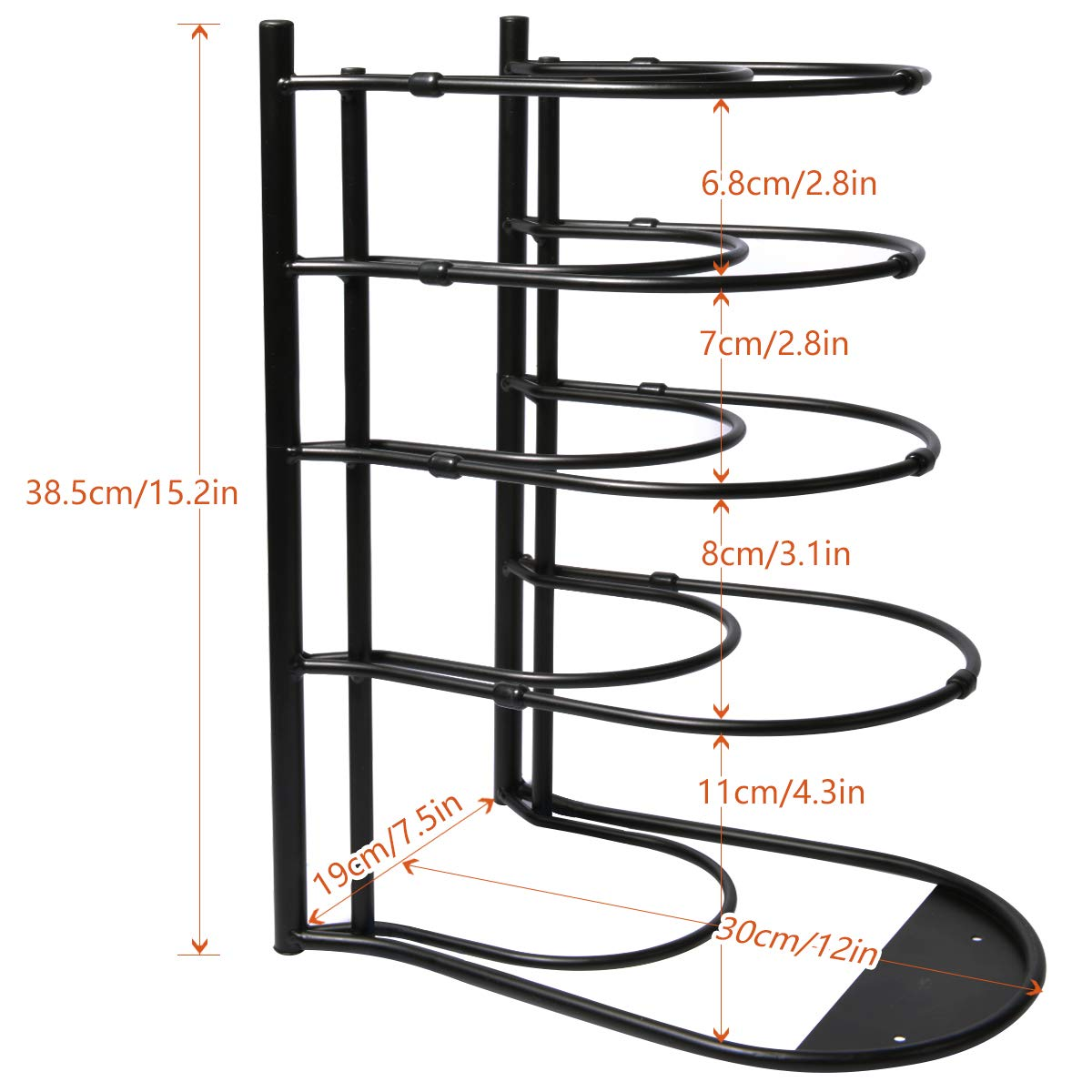 Pan Pot Lid Rack Organizer Shelf Heavy Duty, Kitchen Cabinet Cookware Rack Countertop Pantry Storage Holder, Black (Upgraded version) by WOSOVO (Image #5)