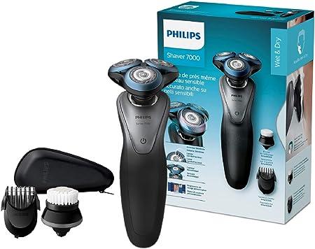 Philips SHAVER Series 7000 - Afeitadora (Máquina de afeitar de rotación, Botones, 10 m, GroomTribe, Negro, Poder)
