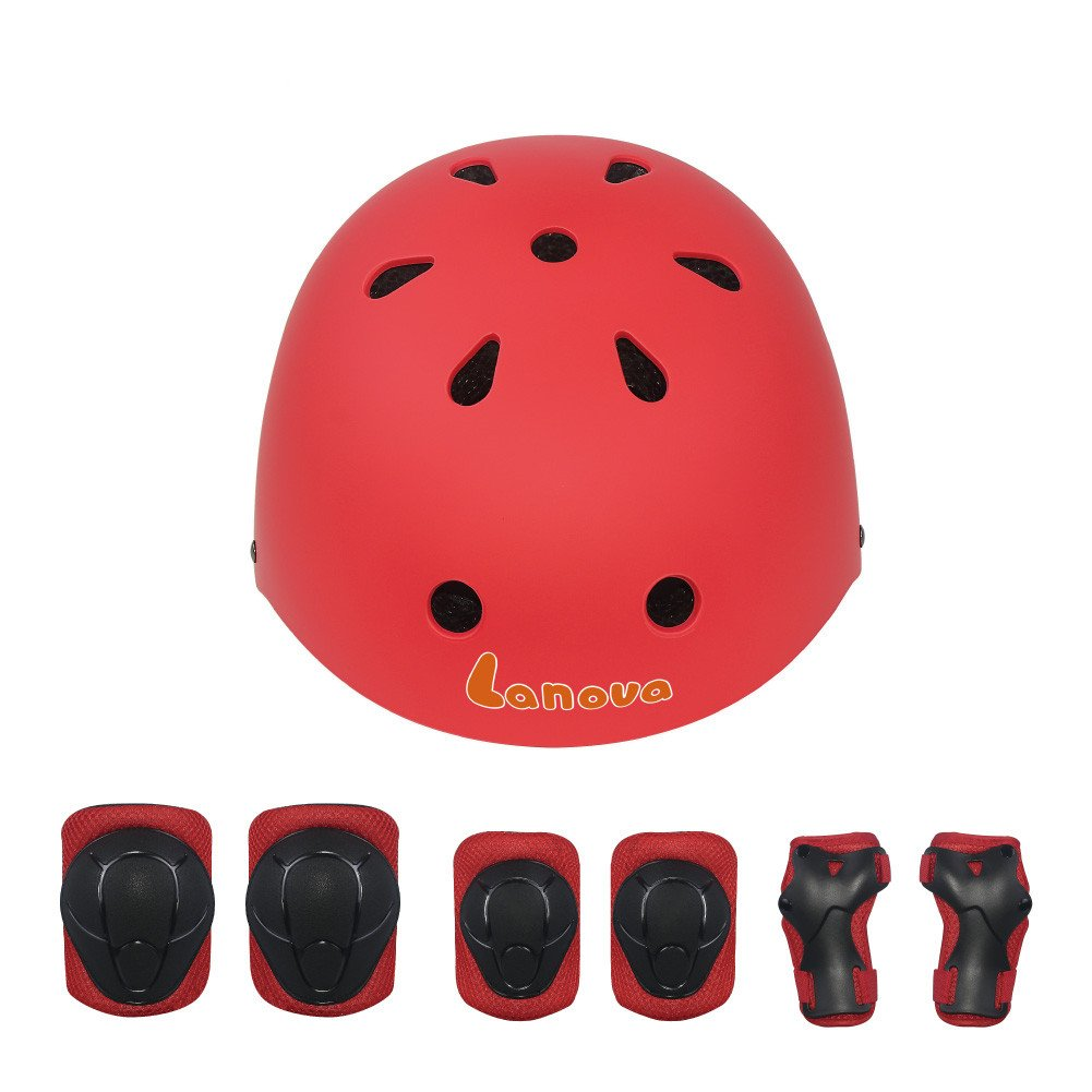 LANOVAGEAR Kids Toddler Cycling Bicycle Protective Gear Set 7pcs Boy Girl Adjustable Helmet Elbow Knee Wrist Pads for Multi Sports Skateboarding Rollerblading Bike (Red, Small) by LANOVAGEAR (Image #2)