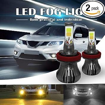 2PCS Dual Color 160W H10 9145 9140 LED DRL Fog Light Driving Bulbs White+Yellow