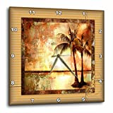 Cheap 3dRose dpp_36532_2 Tropical Sunset in Grunge-Wall Clock, 13 by 13-Inch