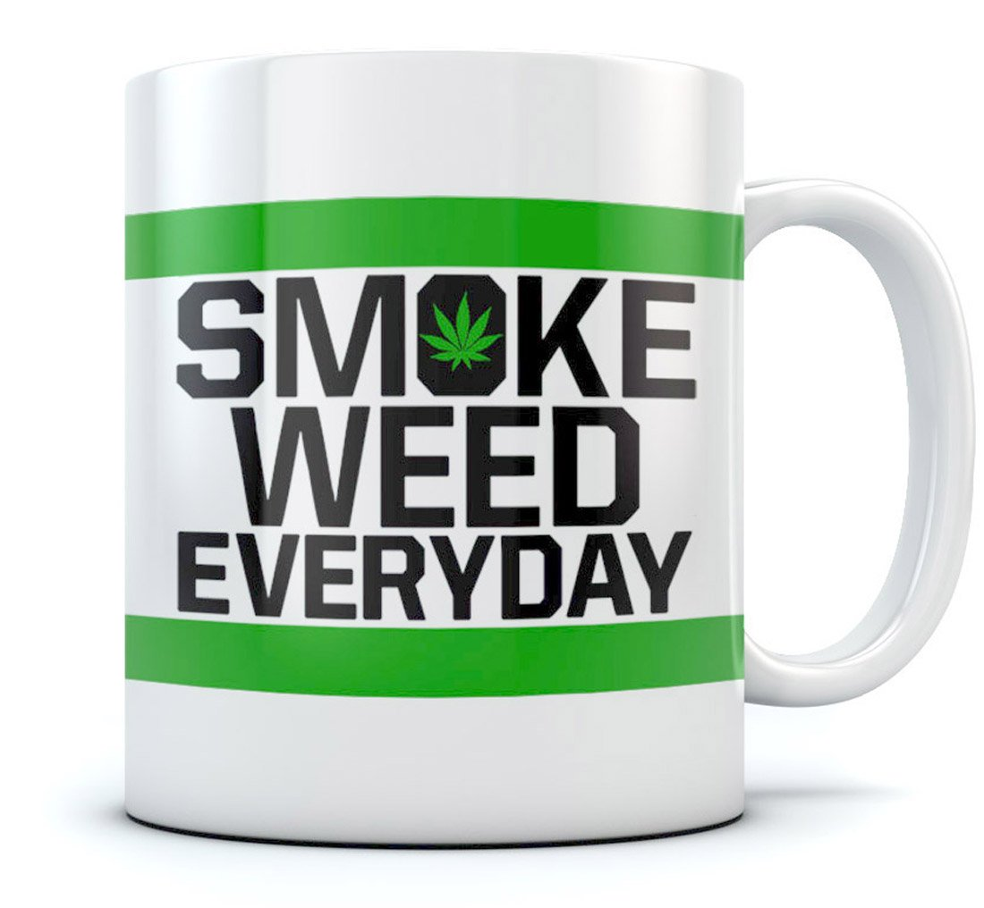 Smoke Weed Every Day Coffee Mug - Marijuana Cannabis Smoking - Weed Day Gift for Coffee & Tea Lovers - Funny Birthday Gift for Your Stoner Freinds - Great Tea Cup Pot Smoking Ceramic Mug 15 Oz. White